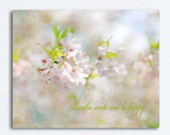 Neutral bedroom canvas art Cherry Blossom art, nature canvas, ivory blue pink pastel art, quote art canvas print large wall decor beige kiwi