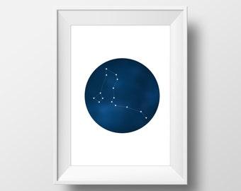 Constellation Wall Art - Northern Hemisphere Constellations Poster - Night Sky Art, Astrology Decor