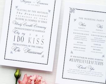 Rezaan Wedding Program, Wedding Stationery, Wedding Programs Printable or Program Printed, Double Sided Wedding Program Frame