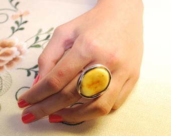 Massive Silver Amber Ring With Butter Color Free Form Genuine Baltic Amber
