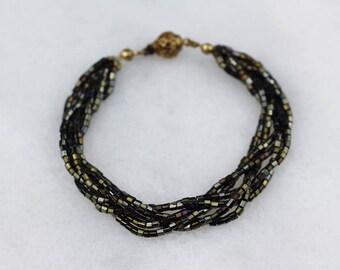 Iridescent Black Seed Bead Braid Bracelet