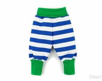 Baby Hose Bio Baumwolle, Baby Pumphose Baumwolle, Babyhose blau weiß gestreift, Jerseyhose Baby, 100% Biobaumwolle