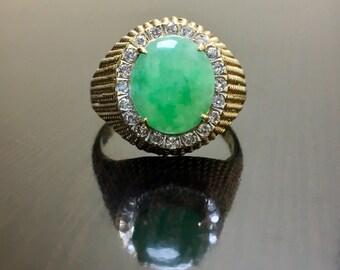 14K Yellow Gold Halo Diamond Jade Ring - 14K Gold Art Deco Jade Diamond Ring - 14K Diamond Halo Jade Ring - Diamond Yellow Gold Jade Ring