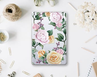 Vintage Rose Case iPad 9.7 Case iPad Air 2 Case iPad Pro 9.7 Clear Case iPad 3 Case Floral iPad Pro 12.9 Case iPad Mini 4 Flowers WA4019