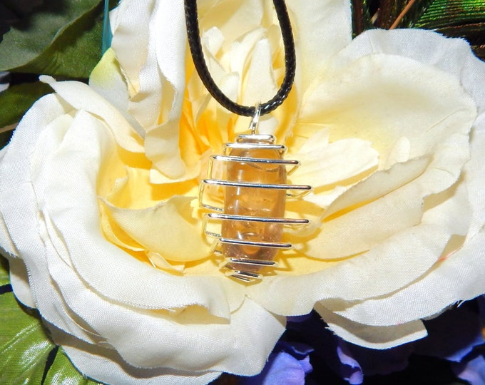 Grounding Smoky Quartz Gem in Cage - Pendant with faux Leather cord - Reiki Magic Wicca Pagan Wiccan