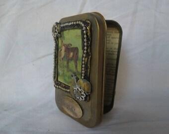 "Gift Card Holder, Altered Altoid Tin ""Play""  Decorative Presentation or Trinket Tin"