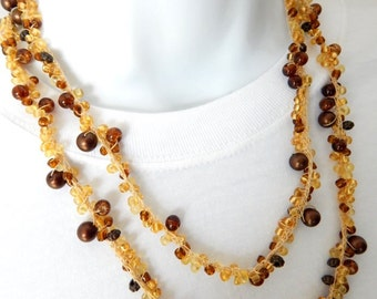 Beaded Necklace - Brown and Gold Beaded Crochet Necklace  - Hand Crocheted - Double Wrap - Long Necklace - BOHO Necklace - Prom