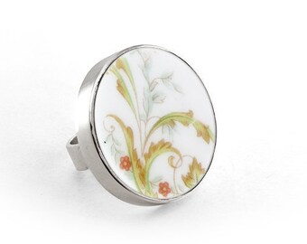 Floral statement ring, China Jewelry, old ceramic ring, sterling ring floral