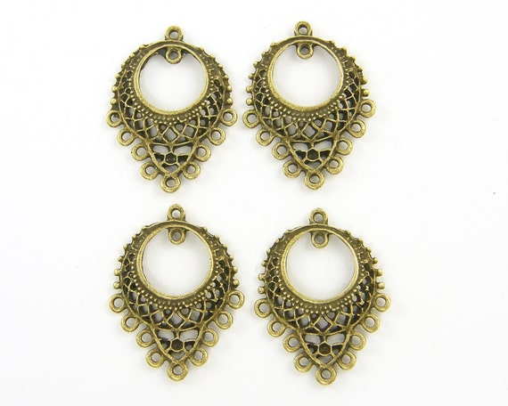 Chandelier earring parts thebeaddreamer antique brass round filigree earring finding gypsy hippie chandelier earring component pendant jewelry supply g10 mozeypictures Images