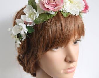 Pink and White Flower Crown, bridal hair crown, floral crown, flowergirl garland, bridesmaid flower crown, bridal flower crown; ALICIA