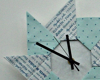 Whimsical First Anniversary/Wedding Origami Gift Clock - Blue with Dots