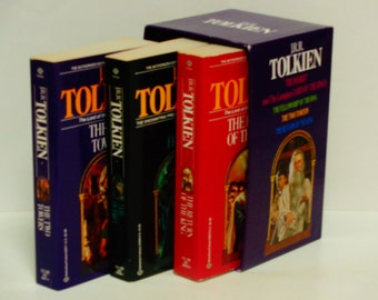 J.R.R. Tolkien - Lord of the Rings Trilogy - Ballantine Books 1983 Paperback Dell Rey Boxed Set - Fantasy Literature - Vintage Books