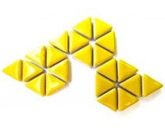 Triangle Ceramic Mosaic Tiles - Citrus Yellow - 50g (1.75 oz)