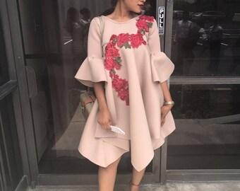 BERNAN BABDOLL DRESS/ flower applique