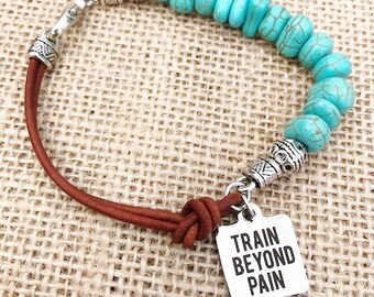 Fitness Bracelet, Turquoise, Leather, Charm