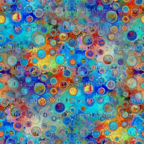 Textile Artist Aqua Blue Polka Dots Soft Minky Fabric By The Yard Fiber Art Blanket Home Decor Craft