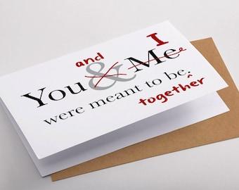 Valentine's Day Card, Valentine's Day Gift, Funny Valentines, Valentine for Her, Grammar Gift