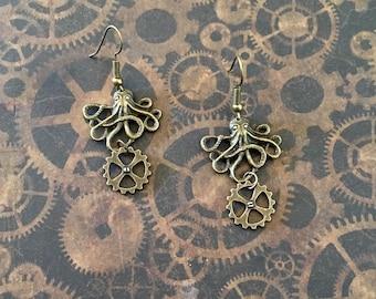 Steampunk octopus earrings