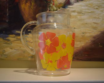 Anchor Hocking Pitcher with Ice Lip Orange and Yellow Flowers Retro Flower Power
