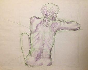 Original Figure Drawing, Seated Male, unframed, 18in x 24in