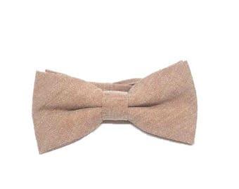 Beige Cotton Bow Tie Wedding Bow Tie Pre-tied Bow Tie Groomsmen Gifts Casual Bow Tie