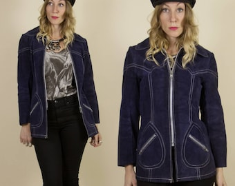 SALE** Vintage 1970s Midnight Blue Suede, Leather Jacket with Contrast Stitching & Tear Drop Pockets