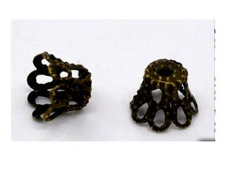 Set of 50 carved bead caps antique bronze 5 mm x 6 mm