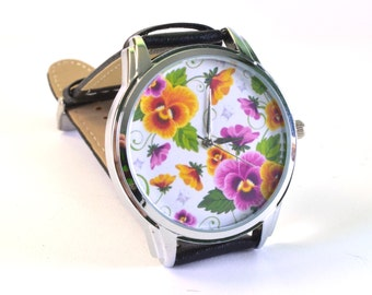 "Originals Wristwatch Quartz ""Flowers"" Japan movt. Handmade"