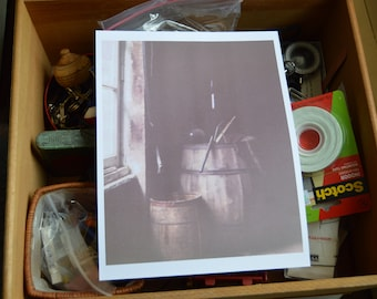 Color Photograph of old barrels full of stuff