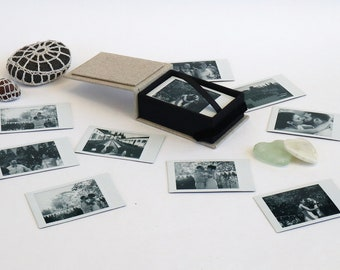 Custom printed black and white Polaroid/Instax intant mini photos in handcrafted photo box | Print your cell pics! Great personalized gift!