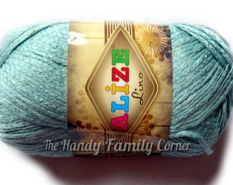 Linen yarn. Alize Lino yarn. Linen / viscose yarn. Natural yarn. Light blue yarn. Blue gray (501) yarn.  DSH(P2)