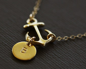 Gold Anchor Initial Necklace - 14K Gold Filled Chain