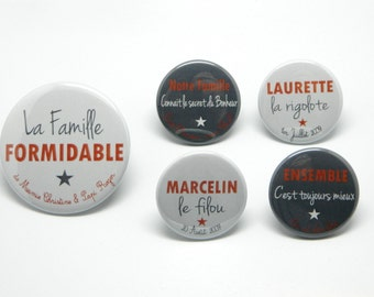 The great family - Grey and Red - set of 5 customizable Magnets