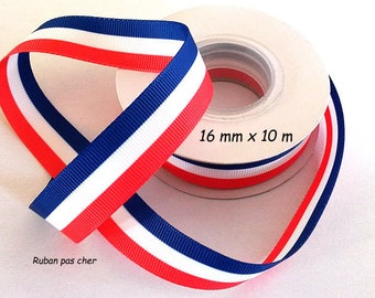 Ribbon grosgrain 16 mm x 10 m - Double sided - tricolor blue - white - red / French flag - cheap: the best quality