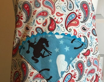 CLOSEOUT/LAST ONE - Cowboy apron, Western apron, Horse apron, Childs western aprons, kitchen apron, childs apron, girl apron, boy apron