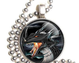 Red and Black Dragon Altered Art Photo Pendant, Earrings and/or Keychain Round, Silver and Resin Charm Jewelry