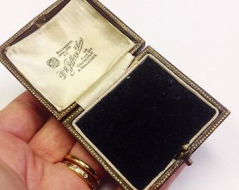 Antique jewellers box, Edwardian jewellery box, Jewellers display box. Brown leather jewellers box.