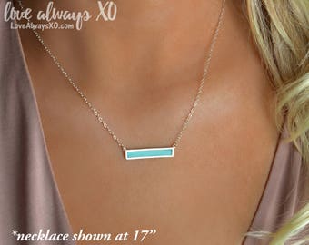 Delicate Turquoise Necklace, Turquoise Bar Necklace, Turquoise Silver Necklace, Sterling Silver, Bar Necklace, simple turquoise