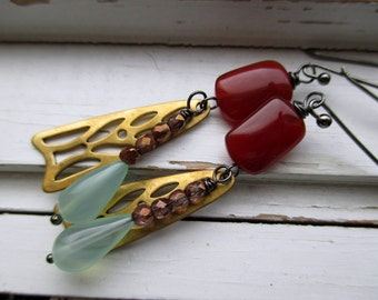 Dragon fly earrings, carnelian and blown glass aqua beads with bronze crystals, summertime dangle earrings