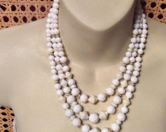Vintage 1950s Hong Kong faceted beads triple strand wedding necklace.