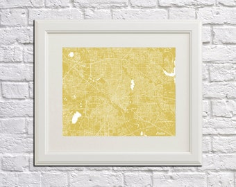 Dallas Street Map Print Map of Dallas City Street Map Poster Texas Wall Art 7077L