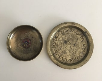 Two Mismatched Brass Coaster and Mini Bowl