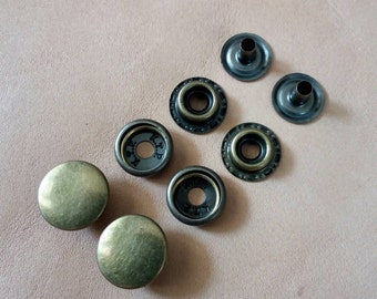 100 sets, 12.5 mm. Snap Fasteners, Metal Snap Fasteners, Antique Brass Cap.