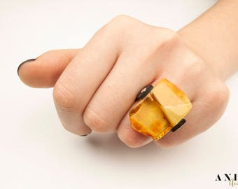Ring with nature amber, amber ring,  jewelry, silver 925, handmade, solid 925 Sterling Silver Amber Ring, honey Amber Ring