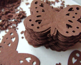 100, Chocolate Brown, paper, Butterflies, scrapbooking, paper craft, confetti, by DoodleDee2 on etsy