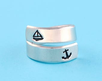i refuse to sink- Anchor Inspirational Ring, Sailboat Ring, Message And Statement Spiral Wrap Ring, Personalized Motivational Jewelry