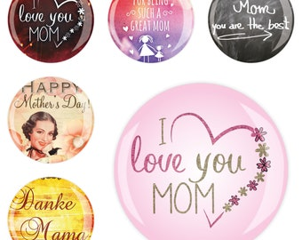 Set of 6 6erMB66601 fridge Magnet Magnet Memo Magnetic Board whiteboard Office Mother's Day 4 cm diameter, strong sticky Jay button