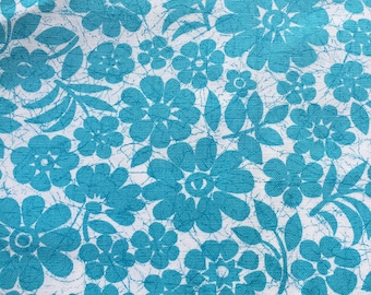 """Vintage Large Print Turquoise Floral Canvas Fabric  // 1 yd x 36"""" > upholstery, decorator weight > Unused > BTY"""
