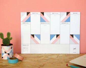 """Joli semainier à motifs géométriques colorés, organiser et plannifier - Weekly Desk Planner """"Belleville"""" - A4 format"""