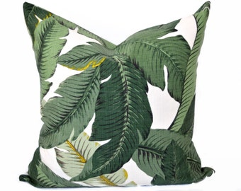 Palm leaf pillow cover - Green and Off White pillow - Tropical pillow - Swaying palms pillow - Banana leaf pillow - Palm pillow